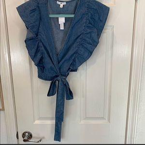 Woman's BP crop denim ruffle top blouse small